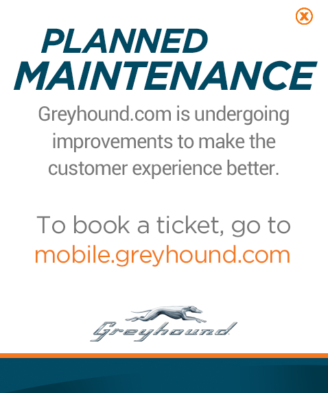 Greyhound.com is undergoing improvements to make the customer experience better. To book a ticket go to Mobile.Greyhound.com